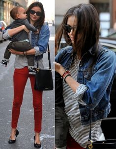 black and white striped shirt with red pants and a jean jacket, perfect! Miranda Kerr does no wrong, love her style! Mommy Style, Love Her Style, Casual Outfits, Cute Outfits, Fashion Outfits, Women's Fashion, Colored Pants Outfits, Miranda Kerr Street Style, Red Trousers