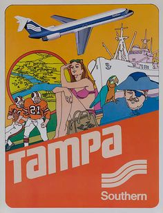 Southern Airways Travel Poster Tampa By David Pollack Beach Posters, Cool Posters, Retro Advertising, Vintage Advertisements, Vintage Travel Posters, Vintage Airline, Poster Vintage, Travel Sights, Air Travel