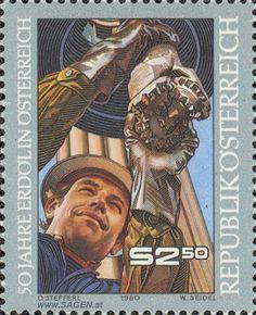 """Briefmarke: """"50 Jahre Erdöl in Österreich"""""""