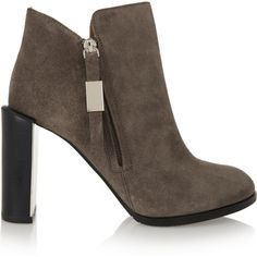 See by Chloé Nara suede ankle boots (£290) ❤ liked on Polyvore featuring shoes, boots, ankle booties, brown, brown suede ankle booties, brown suede boots, high heel ankle boots, ankle boots and suede bootie