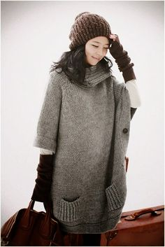 See more Oversize long grey knitted sweater with warm cap and handbag