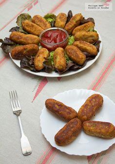 croquetas de atun Good Food, Yummy Food, Snack, Allrecipes, Sausage, Bakery, Recipies, Lunch, Beef