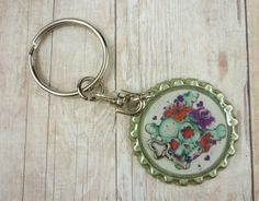Candy Skull Keyring  Halloween Keychain  by EmmaMakesandCreates