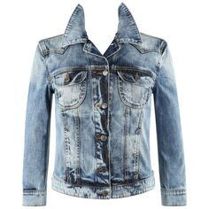 Preowned Mcq Alexander Mcqueen Cotton Stone Wash Denim Blue Jean Skull... ($864) ❤ liked on Polyvore featuring outerwear, jackets, blue, alexander mcqueen jacket, 3/4 sleeve jacket, flap jacket, blue denim jacket and patch jean jacket