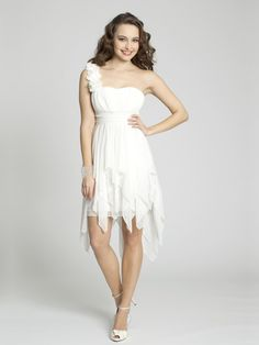 A-line One Shoulder Chiffon Asymmetrical White Flowers Homecoming Dresses at Msdressy.com