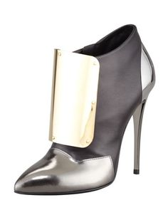 Metal-Detail Leather Ankle Bootie, Black/Silver/Gold by Giuseppe Zanotti