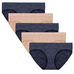 cf5f8ff6a Women s Seamless Bikini Panties Soft Heather Hipster Comfortable Underwear  Multipack of 5  30