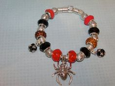 Goth Spider Charm Bracelet with Red Black and by Ricksiconics, $24.00