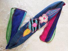 Jeans Women headband, Blue headband, Jeans headband, Flexible fabric tape, Silver headband, Spiral headband, Mother gifts, Sports headband