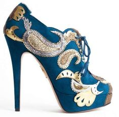 Pumped-Up Paisley Heels - The Charlotte Olympia Orient Express Booties Boast Impressive Prints (GALLERY)