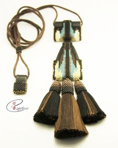 Native American Inspired Necklace with Seed Beads Leather and Cotton Tassels by EzartesaJewelry