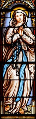 Image result for our lady of the rosary stained glass