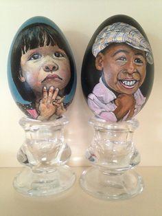 Kinderen geschilderd op ganzen-eieren.