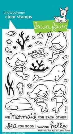 LAWN FAWN: Mermaid For You x Unmounted Clear Acrylic Stamp Set) Make a splash with this cute set of mermaids (and a merman! With lots of accessories and ocean critters, you can have fun under Tampons Transparents, Lawn Fawn Stamps, Bullet Journal, Custom Stamps, Simon Says Stamp, Digital Stamps, Clear Stamps, Diy Cards, Clear Acrylic