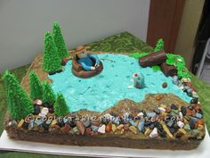 Float Tube Fishing Cake... This website is the Pinterest of birthday cake ideas