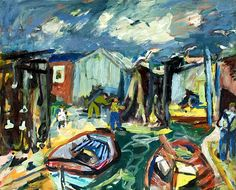 ERIC HALLSTRÖM - Fishing Camp Fish Camp, Cityscapes, Van Gogh, Boats, Scenery, Landscapes, Fishing, Camping, Fine Art