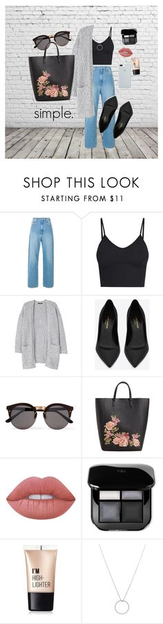 """""""SIMPLICITY"""" by lenipotatoes ❤ liked on Polyvore featuring MANGO, Yves Saint Laurent, Illesteva, Lime Crime, Charlotte Russe, Roberto Coin and ETUÍ"""