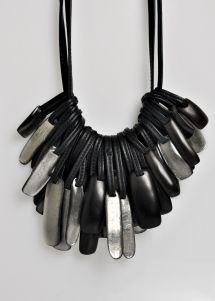 Monies 2 Strand Multi-Layer Resin Necklace in Silver