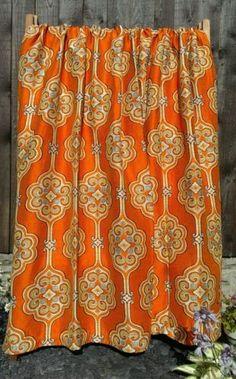 Vintage Retro Mid Century Pair Of Curtains 50s