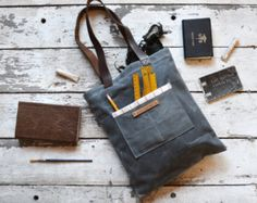 Large Waxed Canvas Reader: Slate by Peg and Awl