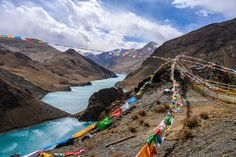 #Prayer Flags in #Tibet. These are attached to pretty much everything, but shouldn't touch the ground! London Photographer, Travel Photographer, Prayer Flags, Tibet, Norfolk, Beautiful Landscapes, Just Go, Landscape Photography, Prayers