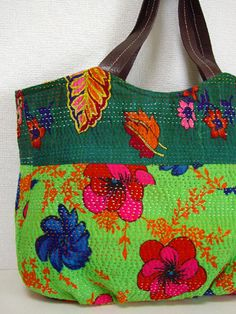 Kantha embroidery tote bag
