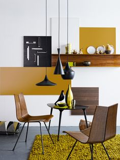 Scandinavian style modern living room with a focus on dark wood and mustard yellow on the wall and in the decor Source by archzinefr Yellow Home Decor, Yellow Interior, Home Interior, Interior Decorating, Apartment Interior, Decorating Ideas, Home Living, My Living Room, Interior Design Inspiration