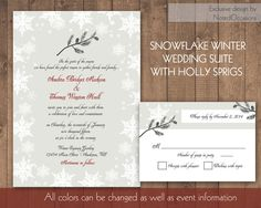 Snowflake Winter wedding invitation set designed with the Rustic Country snowflake winter wedding in mind. The country charm winter wedding