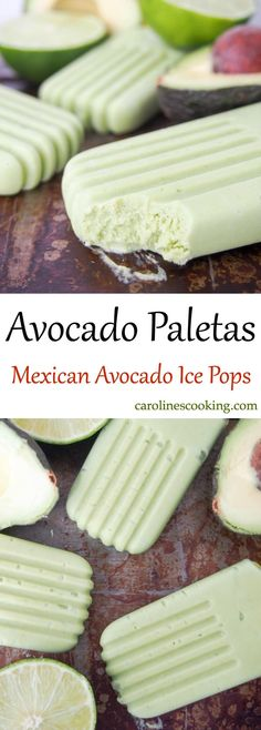 Avocado paletas (Mexican avocado ice pops) - Caroline's Cooking Avocado paletas (Mexican avocado ice pops) are easy to make, healthy & so creamy and tasty. Dairy free & refined sugar free, they're a frozen treat to enjoy guilt-free! Köstliche Desserts, Frozen Desserts, Frozen Treats, Healthy Desserts, Delicious Desserts, Dessert Recipes, Gelato, Avocado Brownies, Avocado Popsicles