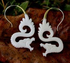 Earrings 98510: White Dragon Bone Fake Gauges Earrings Tribal Style Hand Made Silver Hanging BUY IT NOW ONLY: $30.0