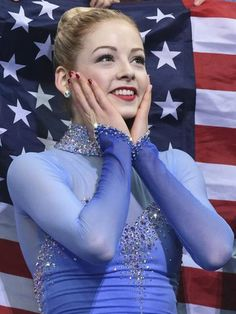 "Gracie Gold of the USA was pleasantly surprised by her score after the team ladies free skate during the Sochi 2014 Olympic Winter Games....""There's no place like home"""