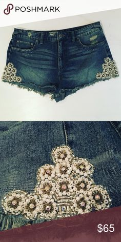 Free People Embellished Cutoff Jean Shorts See second picture for embellishment on both sides! Free People Shorts Jean Shorts