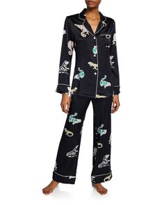 Olivia Von Halle Lila Printed Silk-satin Pajama Set In Chameleon Olivia Von Halle, Lounge Pants, Lounge Wear, Silk Pajamas, Wrap Cardigan, Silk Charmeuse, Pajamas Women, Black Pattern, Pajama Set