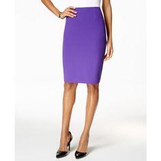 Kasper Crepe Pencil Skirt ($40) ❤ liked on Polyvore featuring skirts, regal purple, white pencil skirt, purple skirt, kasper skirts, white skirt and white knee length skirt