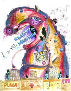 """alarm clock"" anthead 8.5X11 folk art outsider graffiti urban street sketchbook #OutsiderArt"