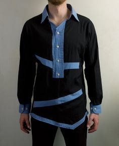 Made from a vintage dress shirt with asymmetrical and elegant accent color