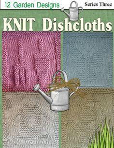Knitted Dishcloth Pattern Garden theme.