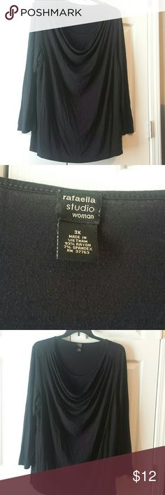 Rafaella size 3X top with cowl neckline Black long-sleeved top size 3X in used condition Rafaella  Tops