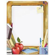 Teachers desk by ideaart Printable Border, Printable Frames, School Border, Boarders And Frames, Silhouette Frames, School Frame, Computer Paper, School Clipart, Envelopes