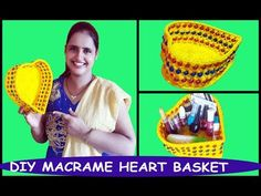 DIY How to Make Macrame Heart Basket - YouTube