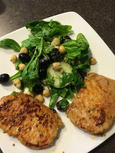 Pork loin chops and spinach salad#foodporn #smile #life #bringthenoise #health #healthy
