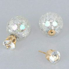 """Gorgeous Dual Studs These gorgeous dual """"shattered"""" style ear studs are an easy way to add a pop of color to any outfit! Available in seven colors! Brand new Jewelry Earrings"""