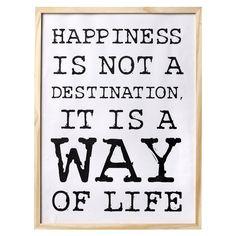 #Cuadro con #marco color #natural texto #HAPPINESS…. ¡La #felicidad no es la meta, es la forma de vivir! #Olhom en esta colección te trae mensajes positivos para que llenes tu #casa de vitalidad.