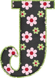 .Alfabeto de florecitas rosas ...De Eduarda Cavalcanti ...J