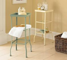 "9.5"" glass shelves are just the ticket for my small bathroom, and the blue green matches the color of the accent wall.  Painted Metal Accent Table - Small #potterybarn"