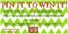 "**PIN IT TO WIN IT!** 1. Follow my board http://www.pinterest.com/mspeterpiper/in-a-pikle/ 2. Create a Pinterest Board called ""LOOK AT MY PIKLE""  3. Pin this image along with your favorite pikle designs! 4. In each pin include @In a Pikle Professional - Kathy Coward"