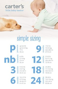 Heading to a baby shower? Expecting your first born? Baby sizes can be confusing and overwhelming. But this simple sizing chart from Carter's makes shopping for your little bundle of joy a cinch!