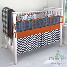 Crib bedding in Windsor Navy Flying Arrow, Gray and White Polka Dot, Navy Herringbone, Solid Rustic Orange, Solid Navy, Navy Buffalo Check, White and Navy Zig Zag. Created using the Nursery Designer® by Carousel Designs where you mix and match from hundreds of fabrics to create your own unique baby bedding. #carouseldesigns