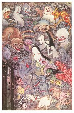 Inch Print (other products available) - JAPANESE GHOSTS The Shozenji Temple, Fushimi, near Kyoto, is haunted by Hiyakki Yako - a gathering of a hundred ghosts - Image supplied by Mary Evans Prints Online - print made in the UK Japanese Mythology, Japanese Folklore, Japanese Drawings, Japanese Prints, Japanese Mythical Creatures, Japanese Yokai, Japanese Geisha, Japanese Kimono, Ghost Images