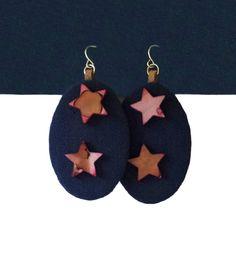 Handmade earrings / unique earring for women / fabric earring / bohemian earring / dark blue drop earring / oval earring / casual earrings by BanSisDesignJewelry on Etsy https://www.etsy.com/listing/384786082/handmade-earrings-unique-earring-for